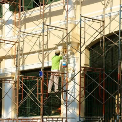 scaffold with worker