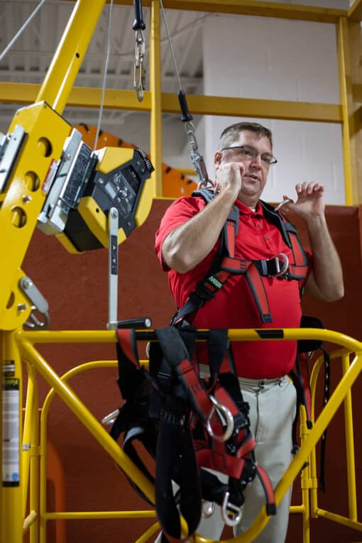 Safex Instructor Demonstrating How to Enter Permit Required Confined Space